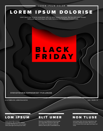 Modern vector black friday flyer template with deep paper cut effect - dark version with red accent