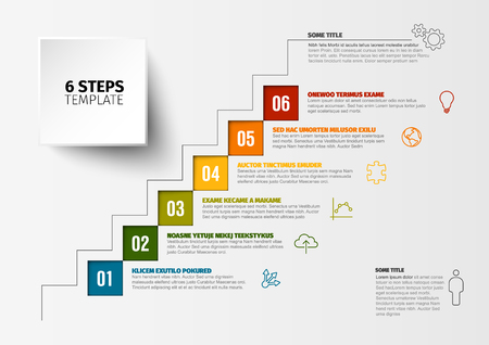 One two three four five six - vector squares progress steps template with descriptions and icons Ilustração