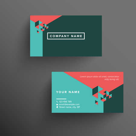 Modern company branded business card template with isometric background and white text