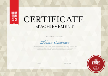 Modern certificate of achievement template with place for your content - golden and red version