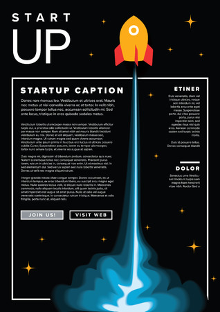 Paper cut startup infographic flyer template with space rocket - dark version