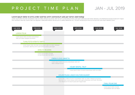 Vector project timeline graph - gantt progress chart of project