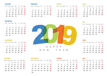 Vector calendar template for the year 2019 Illusztráció
