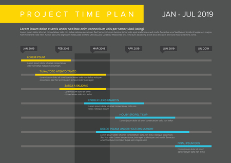 Vector project timeline graph - gantt progress chart of project - dark yellow and blue version