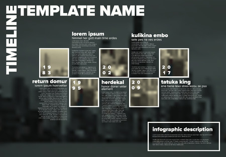 Vector Infographic timeline template with the biggest milestones, photos, years and description on blurred city background