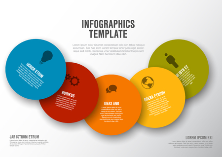 Vector Minimalist colorful Infographic template with circle cards - light version