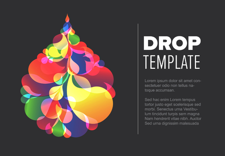 Abstract flyer template with colorful droplet made from small color drops - dark version Illustration