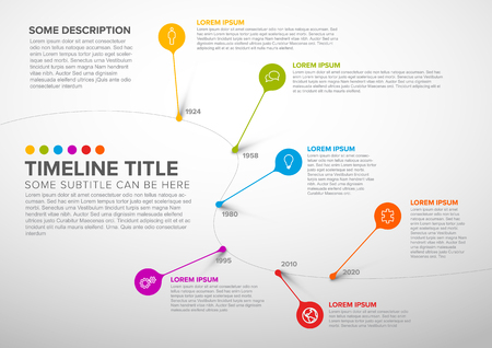 Colorful dark vector infographic timeline report template with bubbles - light version