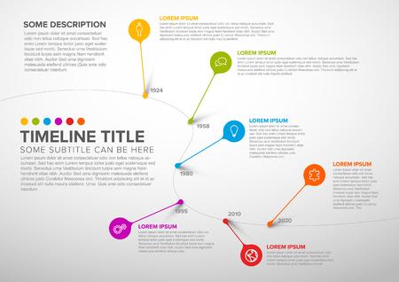 Plantilla de informe de línea de tiempo colorida infografía vector oscuro con burbujas - versión ligera