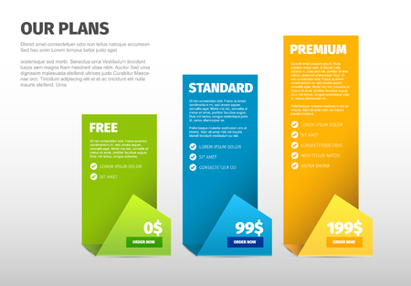 Tableaux de comparaison des versions de prix des produits / services minimalistes - avec description Vecteurs