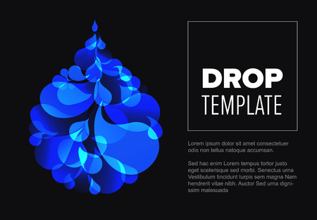 Abstract dark flyer template with blue droplet made from small drops Illustration