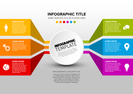 Vector multipurpose Infographic template made from circle and content blocks - light version