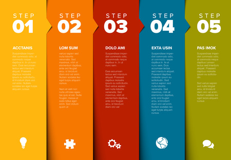 One two three four five - vector progress block steps template with descriptions and icons Ilustração
