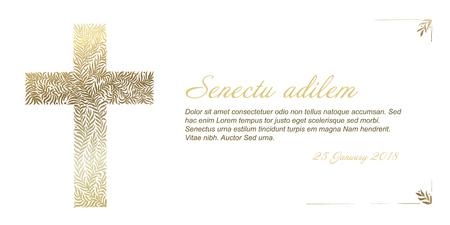 Plantilla de tarjeta de funeral con cruz dorada hecha de hojas sobre fondo blanco.