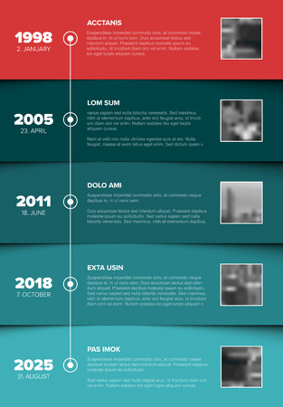 Vector Infographic Company Milestones Timeline Template with photo placeholders on teal and red horizontal stripes