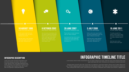Vector Infographic Company Milestones Timeline Template with hot diagonal stripes - green version