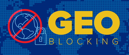 European Geo-blocking concept flyer illustration header banner template - blue version Ilustração