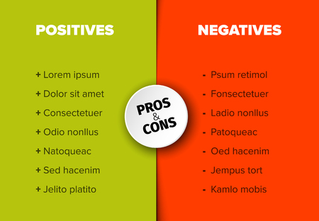 Vector template for positives and negatives with sample items Illustration