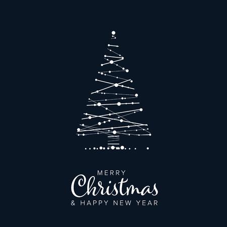 Minimalistische Weihnachtsfliegerkartenschablone mit abstraktem Weihnachtsbaum auf dunkelblauem Hintergrund