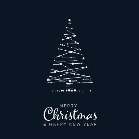 Minimalist Christmas flyer  card temlate with abstract christmas tree on a dark blue background Vettoriali