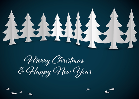 Christmas card template with paper trees - original new year card