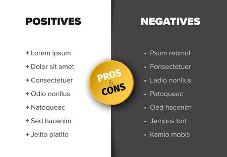 Vector template for positives and negatives with sample items - black and white version with yellow accent Ilustração