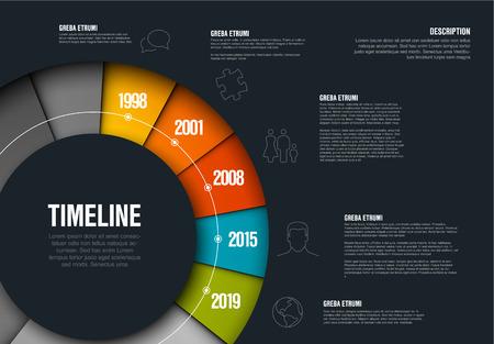 Vektor-Infografik-Timeline-Vorlage aus buntem Rad - dunkle Version
