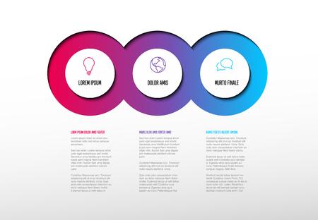 Vektor-Mehrzweck-Infografik-Vorlage mit drei Elementoptionen und modernen Farben auf hellem Hintergrund