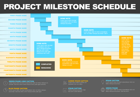 Vector project timeline graph - gantt progress chart of project blue and yellow version Vetores