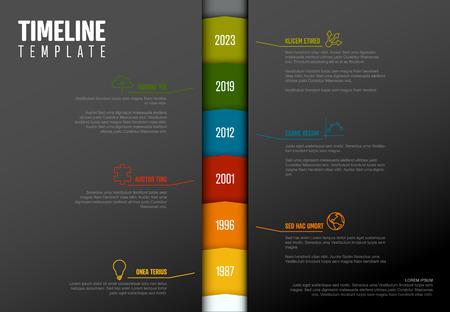 Vector Infographic Company Milestones Timeline Vertical Template  - dark version