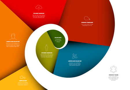 Project evolution timeline template with spiral model and icons color version