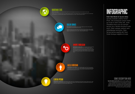 Vector Infographic template with big photo placeholder, icons and color buttons. Business company overview profile - dark version.  イラスト・ベクター素材