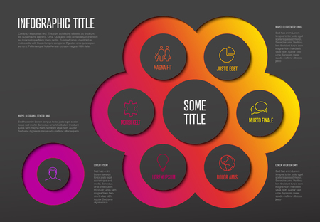 Vector multipurpose Infographic template with six elements options and modern colors on a dark background