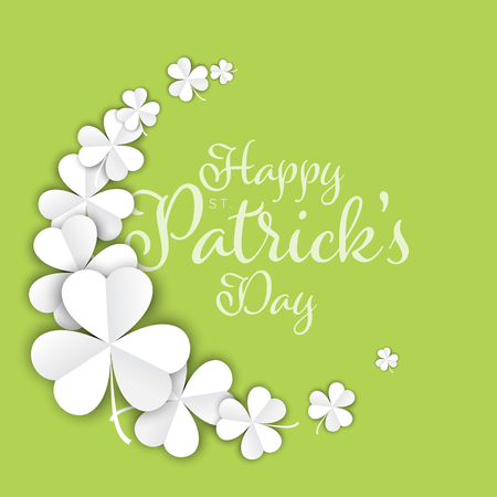 St. Patrick's Day greeting card flyer poster template with few white paper clover leafs