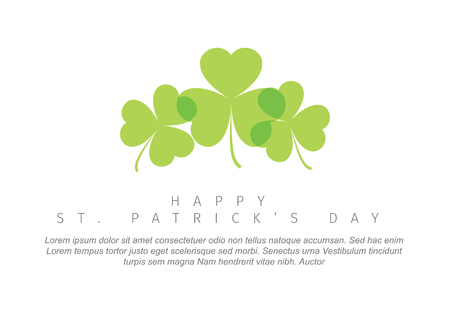 St. Patrick's Day minimalistic greeting card flyer poster template with few clover leafs