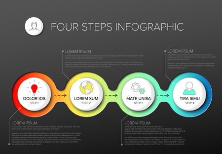 Vector multipurpose Infographic template with four elements options and modern colors on a dark background