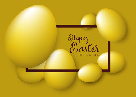 Modern minimalist pastel 3D golden happy easter card with eggs Çizim