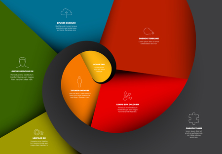 Project evolution timeline template with spiral model and icons - dark color version