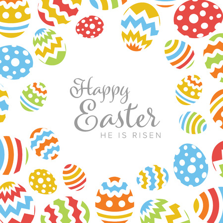 Modern minimalist colorful happy easter card template with color decorated eggs