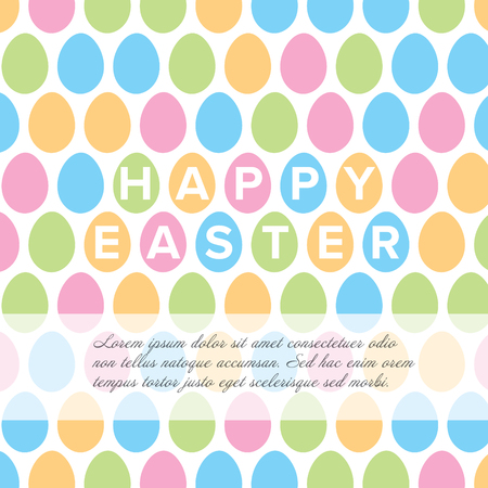 Modern minimalist colorful happy easter card template with color eggs pattern