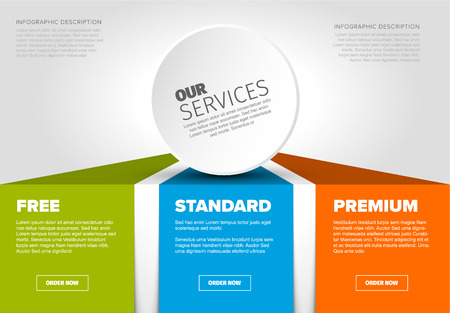 Product  service price comparison cards with description and icons