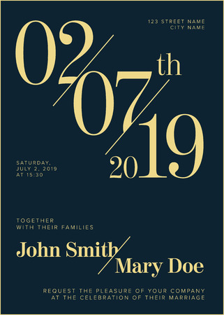 Vector Typography Wedding invitation with big numbers