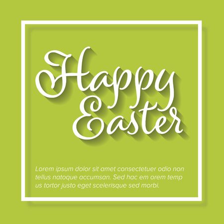 Vector retro Paper card  poster with white lettering Happy Easter Çizim