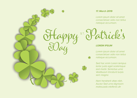 St. Patricks Day greeting card flyer poster template with green paper clover leafs