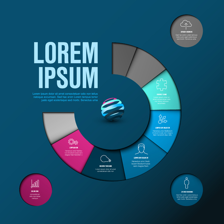 Vector Infographic timeline template made from colorful wheel - dark blue and pink version Çizim