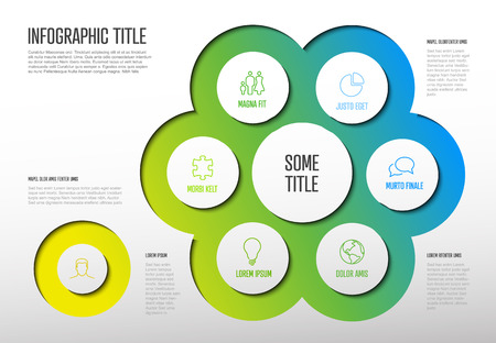 Vector multipurpose Infographic template with six elements options and modern colors on a light background