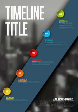 Vector Infographic timeline report template with big photo placeholder, icons, years and color buttons on white diagonal stripe. Business company vertical overview profile. Çizim