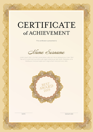 Modern certificate of achievement template with place for your content - golden vertical design