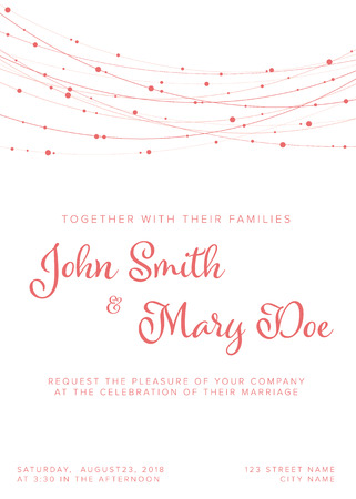 Vector pink Wedding invitation template with pink light chains