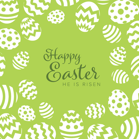 Modern minimalist green happy easter card template with white decorated eggs